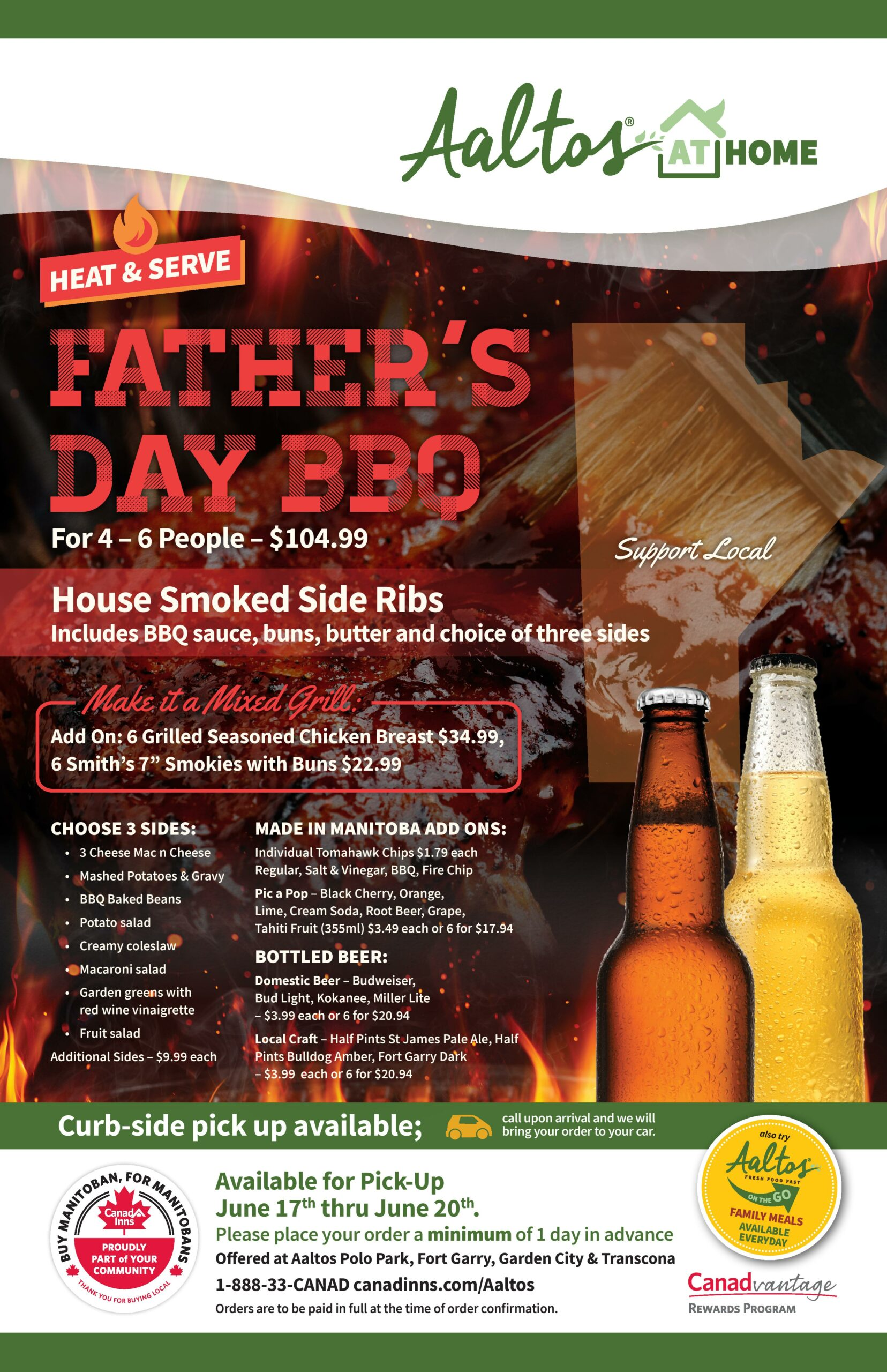 Aaltos at Home Father's Day Heat and Serve BBQ Special