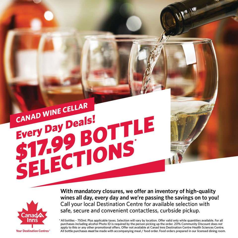 Canad Inns Wine Bottle Sale with Takeout Orders - Great Deals from the Canad Inns Wine Cellar